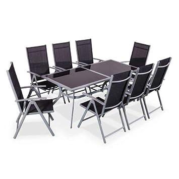 Salon de Jardin en Aluminium et textilène - Naevia - Gris, Noir - 1 Grande  Table rectangulaire, 8 fauteuils Pliables
