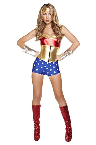Roma Costume Women's 3 Piece Lusty American Super Heroine, Red/Blue/Gold, Medium/Large