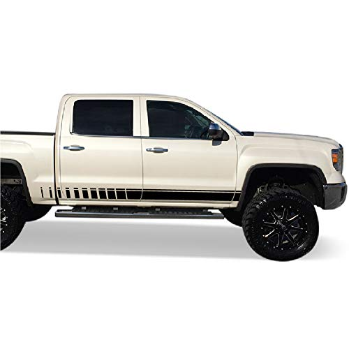 Bubbles Designs Pair of Decal Sticker Vinyl Side Racing Stripes Compatible with GMC Sierra 1500