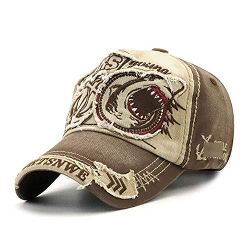 野球帽 男性女性 綿のサメの刺繍フィット キャップ,ベージュ