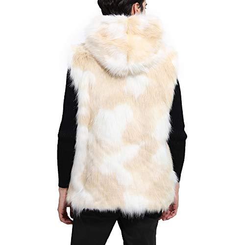 Artificial Beige Coat Snow Faux Fur Parker Thick Cardigan Comfortable Jacket Aristocratic Winter Breathable Warm Yunyoud Men's Vest White xwq7YHqTP