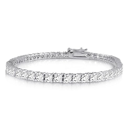 KEZEF Creations Sterling Silver Round Cut 3mm Cubic Zirconia Tennis Bracelet in Rose 14K Gold Plated & Rhodium Plated