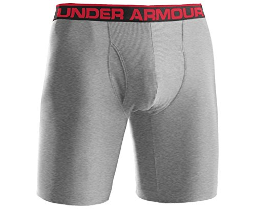 Under Armour Men's Original 9-Inch Boxerjock Boxer Briefs, True Grey Heather/Red, Large