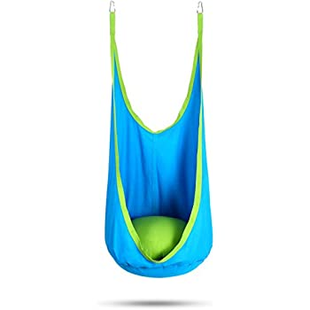 OUTREE Kids Hanging Swing Seat Hammock With Cotton Seat Cushion,100% Cotton  Child Swing Chair For Indoor And Outdoor Use (blue Cotton)