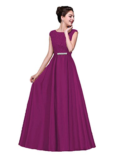(Vimans Full Length Satin Wedding Bridesmaid Dress with Capped Sleeves, Purple3 4)