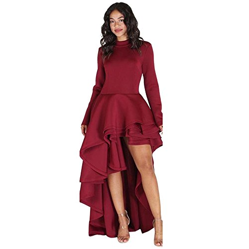 Goddessvan Women Short Sleeve High Low Peplum Dress Bodycon Party Club Asymmetrical Dress (XL, Red-2) ()