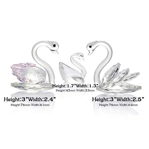 H&D 3pcs Crystal Swan Statue Collection Cut Glass Decorative Statue Animal Collection Glass Swan Paperweight Couple Family Suit (Pink&Clear)