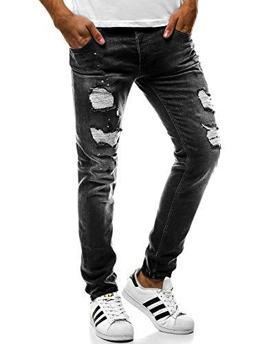 OZONEE Hombre Pantalones Vaqueros Pantalón Chándal Pantalones Deportivos Pantalones de Ocio Pantalón chándal Jogger Otantik 1805 Negro _ Ozonee B/1729