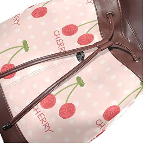 Kvinnor PU-läder körsbär frukt mönster ryggsäck handväska resa skola axelväska ledig dagväska