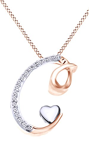 14k Two Tone Rose Gold Over Sterling Silver Natural Diamond Accents