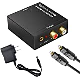 Analog Audio Converter- 92kHz Aluminum Optical to RCA with Optical &Coaxial Cable.