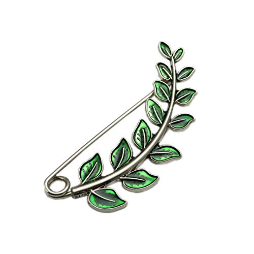 Joyci Vintage Green Leaf Brooch Cardigan Pin Shawl Brooch Buckle Sweater Knitwear Lapel Pin (Silver Plated)