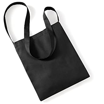 9567d688d Westford Mill Organic Cotton Sling Tote Bag - 8 Litres (One Size) (Black