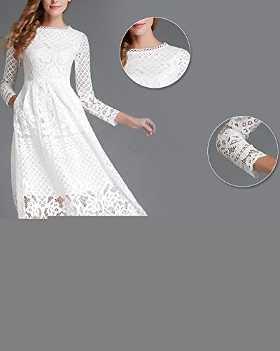 Vestido de Fiesta Mujeres Manga Larga Encaje Vestido de Novia Largo Blanco