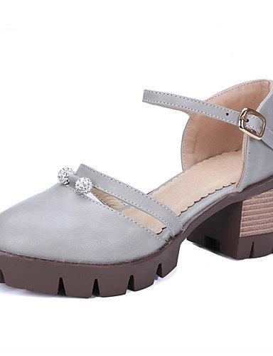 ZQ zapatos de las mujeres de la PU de los talones de verano / confort grueso del tal¨®n / ocasional al aire libre espumosos brillo / hebilla , black-us9.5-10 / eu41 / uk7.5-8 / cn42 , black-us9.5-10 / gray-us5 / eu35 / uk3 / cn34