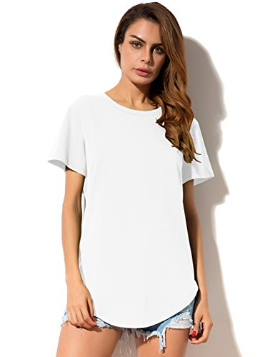 Womens Loose Short Sleeve Cotton T-Shirt White - 7