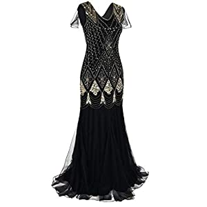 Hapae 1920s Flapper Fringed Sequin Dress Roaring 20s Fancy Dress Gatsby Costume Dress V Neck Vintage Beaded Evening Dress Women's Sequin Wedding Dress Maxi Dresses