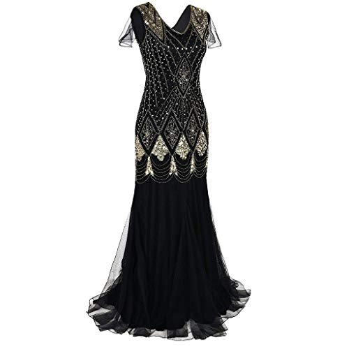 Christmas Women's Holiday Vintage Black Evening Prom Costume 1920s Bead Fringe Sequin Lace Floor Length Cocktail Party Dress (Gold, -