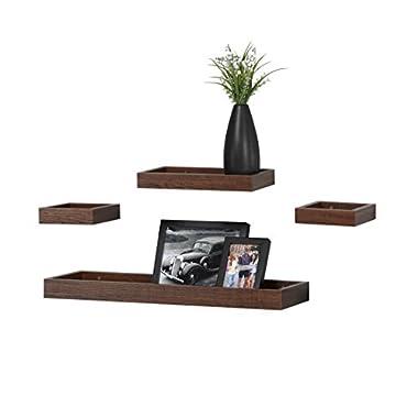 O&K Furniture Multi Length Set of 4 Floating Shelf, Espresso- Teak