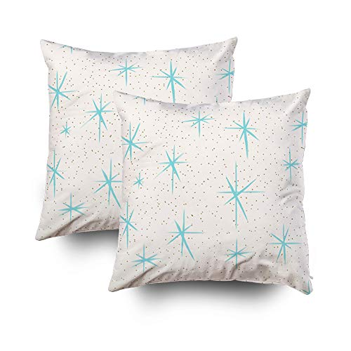 EMMTEEY Home Decor Throw Pillowcase for Sofa Cushion Cover,Space Age Turquoise starbursts Cube Decorative Square Accent Zippered and Double Sided Printing Pillow Case Covers 20X20Inch,Set of 2