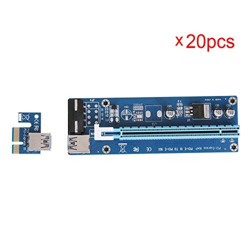 Mining SATA Cable, Awakingdemi PCI-E 1X to 16X Extender Riser Card 4Pin USB3.0 Cable for Mining,20pcs by Awakingdemi (Image #1)