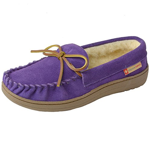 Price comparison product image alpine swiss Sabine Womens Suede Shearling Slip On Moccasin Slippers Purple 8 M US