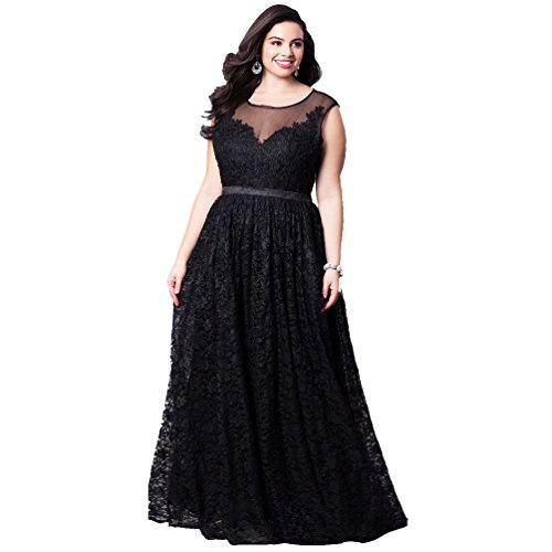 Yujeet Womens Long Evening Dresses Plus Size Empire Waist Lace Party Dresses Sleeveless Pleated Maxi Dress: Amazon.co.uk: Clothing