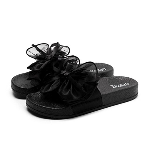 Sandals Women's Summer Comfortable Rubber Breathable Bow-Knot Decoration Slipper,Black,36