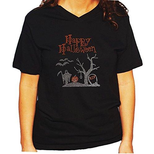 Women's/Unisex T-Shirt with Happy Halloween Graveyard Scene in Rhinestones (3X, Black V-Neck) -