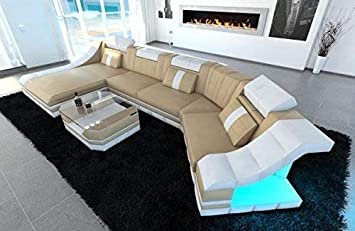 Sofa Dreams Leder Wohnlandschaft Turino C Form Sandbeige Weiss