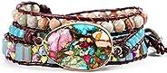 YGLINE 7 Chakra Stone Bracelets Imperial Jasper Nature Stone Tube Beads Reiki Healing Gemstone Woven wrap Adju