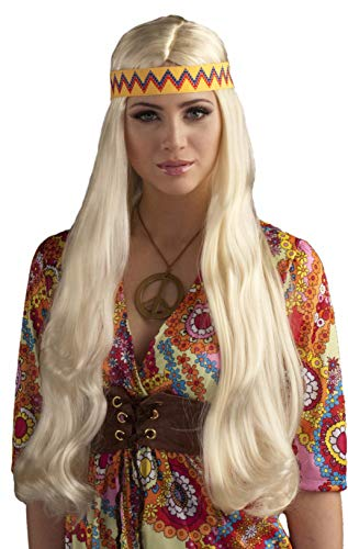 Hippie Chick Halloween Costume (Forum Novelties Women's 60's Generation Hippie Chick Costume Wig with Headband, Blonde, One)