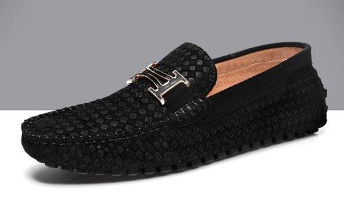 Happyshop (tm) Hombres Mocasín De Cuero Repujado Negocios Ocasionales Slip-on Mocasín Conducción Coches Zapatos Size38-45 Negro