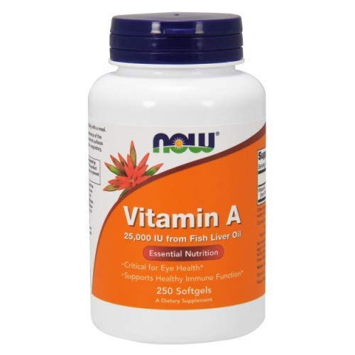 Vitamin A from Fish Liver Oil, 25000IU, 250 Sgels by Now Foods (Pack of 4)