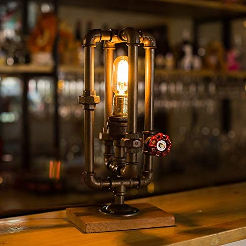 L.W.SURL American Retro Industrial Wind Creative Rustic Water Pipe Table Lamp Bedroom Bedside Lamp Vintage Bar Cafe Restaurant Decoration Desk Lamp