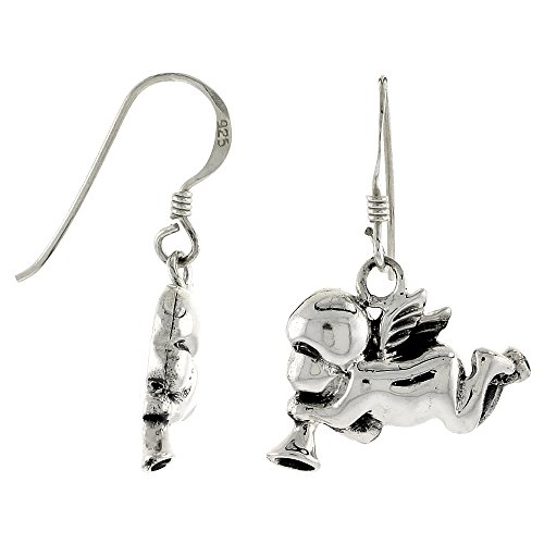 Sterling Silver Cherub Angel Blowing a Horn Earrings, 9/16 inch tall