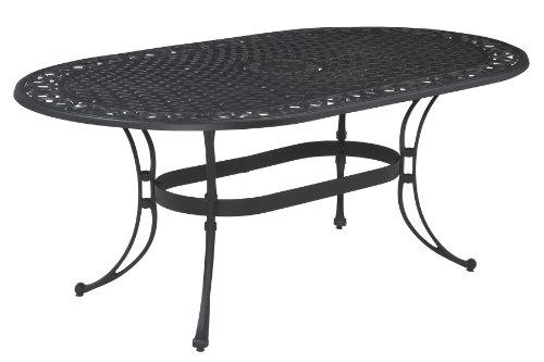 Biscayne Black Oval Outdoor Dining Table by Home Styles - Biscayne oval outdoor dining table Made of solid cast aluminum Features a top is designed specifically to prevent damage caused from pooling by allowing water to pass through freely - patio-tables, patio-furniture, patio - 41YjtmpFHYL -