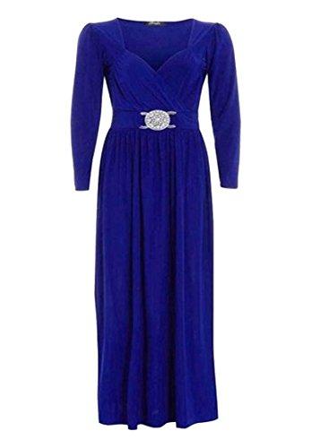 À Manches Longues Pour Femmes Grande Taille Front Buckle Fluide Enveloppant Robe Maxi 16-26 - Bleu Roi, 24-26