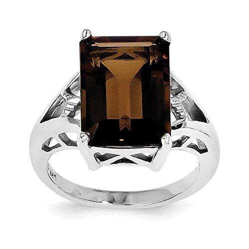 925 Sterling Silver Rhodium Smoky Quartz and Diamond Ring (Chain Smoky Quartz Ring)