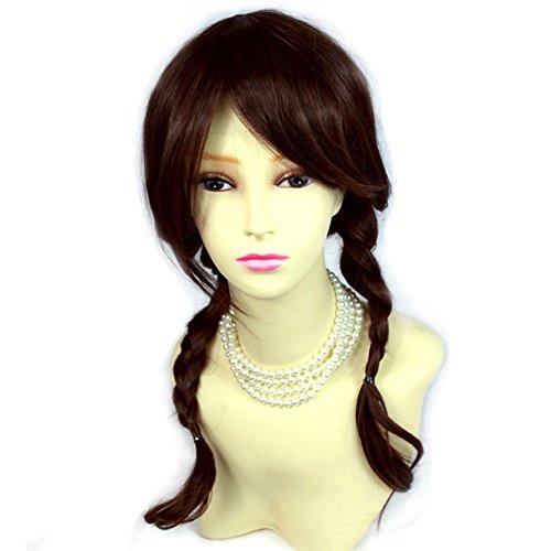 Auburn mix Brown Long Plaited Braided Pigtail Wig School girl Style Ladies Wigs (Brown Braided Wig)