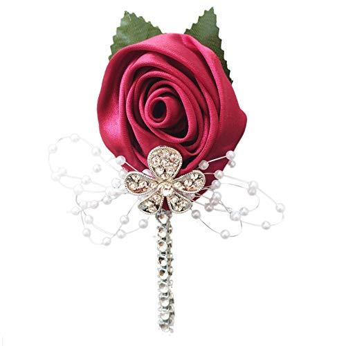 YOYOYU ART HOME DECOR 2 Pcs/Pack Wedding Corsages Boutonniere Groom Diamond Crystal Wedding Flowers Pearl Beaded Brooch Flowers (wine red)