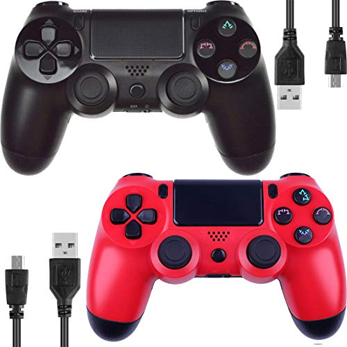Kogoda Wireless Bluetooth Controllers Joystick Gamepad for V2 PS4 Playstation 4 Double Shock - Bundled with USB Charge Cord (Black and ()