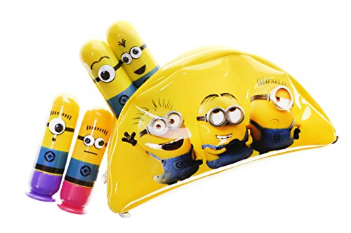 Townley Girl Despicable Me 3 Super Sparkly Lip Gloss Set for Girls, 4 Yummy Flavors with Banana Bag