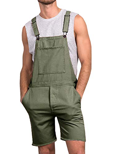 Enjoybuy Mens Denim Bib Overall Shorts Above Knee Length Rompers Walk Dungaree Jumpsuit Relaxed Fit (X-Large, 01-Army Green)