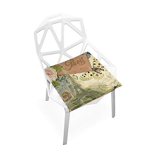 Feim-AO Paris Vintage Eiffel Tower Floral Square Stool Chair Seat Cushion Pad Office Dining Chair Floor Cushion Pad 16x16 inch ()