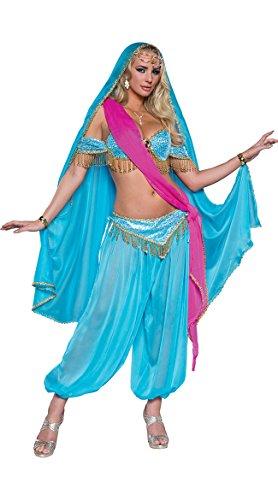 Fun World Women's Exotic Jewel of The East Costume, Turquoise Aqua, S