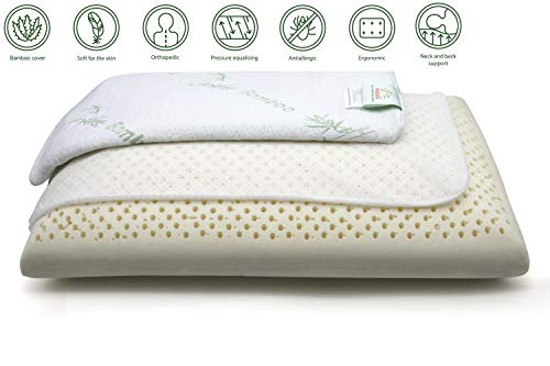 Anatural Latex Pillow, 100% Natural Latex Pillow Breathable Organic Foam Double Zipper Removable Bamboo Cover, Relieve Neck Shoulder Pain, Medium Firm Pillow for Side Back Sleeper (Standard Bread) -