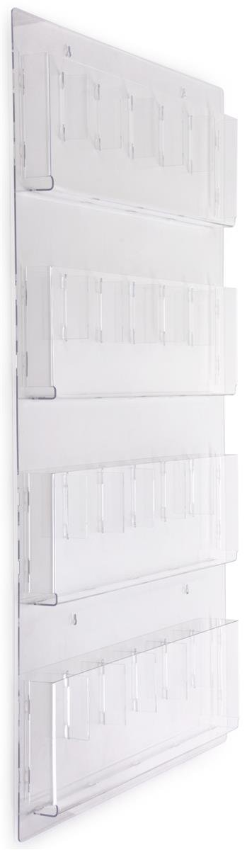 Displays2go Hanging Literature Rack with Adjustable Pockets, 29x48 '', Clear Acrylic (RP12CLR)