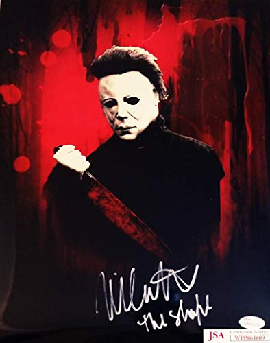 NICK CASTLE SIGNED 11X14 PHOTO MICHAEL MYERS HALLOWEEN JSA COA 09]()