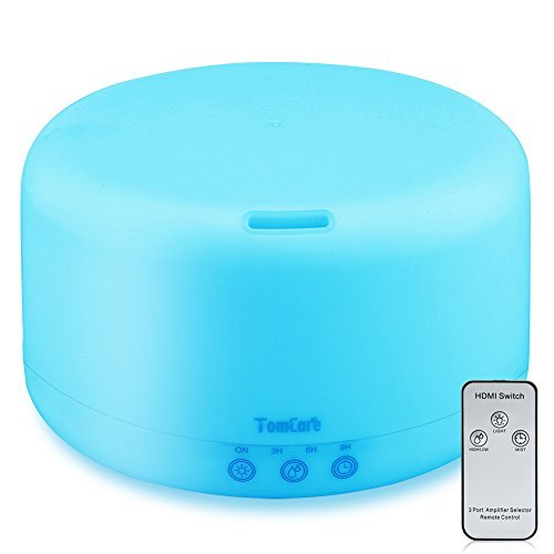 1000ml Essential Oil Diffuser Humidifiers Remote Control Ultrasonic Aromatherapy Diffusers Running 23 Hours with Adjustable Mist Mode,Water-less Auto Shut-Off & 7 Color LED Lights for Home